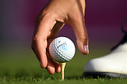 Illustration of tee and ball during the Rolex Pro-Am of LPGA Evian Championship 2018, Day 3, at Evian Resort Golf Club, in Evian-Les-Bains, France, on September 12, 2018, Photo Philippe Millereau / KMSP / ProSportsImages / DPPI