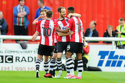 Ollie Watkins (14) of Exeter City celebrates scoring a goal with his team mates to give a 1-0 lead to the home team during the EFL Sky Bet League 2 play off second leg match between Exeter City and Carlisle United at St James' Park, Exeter, England on 18 May 2017. Photo by Graham Hunt.