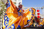 Performers dance onstage during an event to celebrate the upcoming Spring Festival or Chinese New Year at The Americana at Brand in Glendale, California, Sunday, February 15, 2015. <br /> (Photo by Ringo Chiu/PHOTOFORMULA.com)