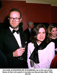 The EARL & COUNTESS OF ST.ANDREWS, he is the son of the Duke of Kent, at a party in London on November 26th 1996.LTX 23