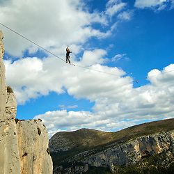 Christian Krr, world class highliner on the return of the a FM send of the  first space-highline, 300m high, and 65, 45,30m legs, rigged in the Sordidon sector of Verdon Gorges, France...2012 © Pedro Pimentel