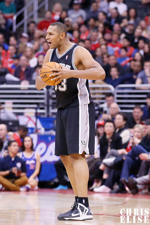 18 February 2014: San Antonio Spurs power forward Boris Diaw (33) reacts during the San Antonio Spurs 113-103 victory over the Los Angeles Clippers at the Staples Center, Los Angeles, California, USA.