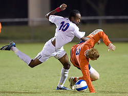 Virginia Cavaliers midfielder/defender Matt Poole (3) is knocked over by Southern Methodist Mustangs forward/midfielder Dane Saintus (10).  The #18 ranked Virginia Cavaliers fell to the #14 ranked Southern Methodist Mustangs 3-1 in NCAA men's soccer at Klockner Stadium on the Grounds of the University of Virginia in Charlottesville, VA on August 31, 2008.