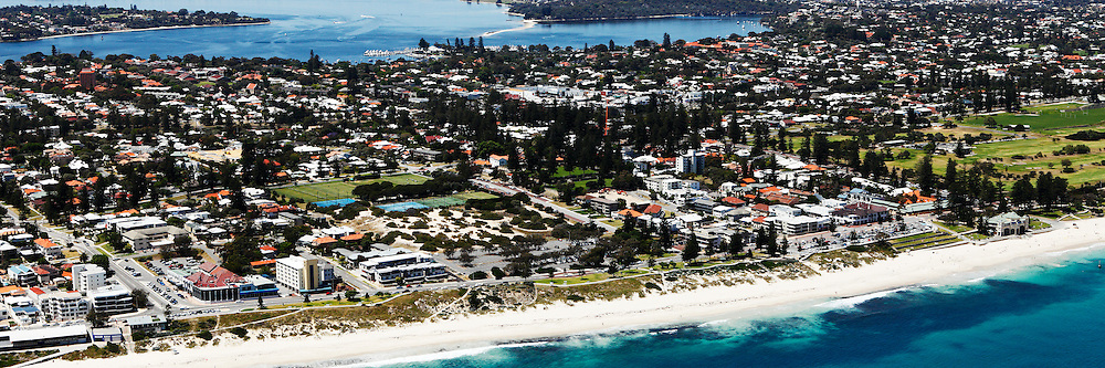 Aerial photographs of Cottesloe, North Cottesloe, Claremont, Peppermint Grove, Mosman Park, Fremantle, Henderson, Carnac Island, Perth city