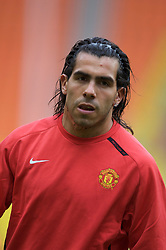 MOSCOW, RUSSIA - Tuesday, May 20, 2008: Manchester United's Carlos Tevez during training ahead of the UEFA Champions League Final against Chelsea at the Luzhniki Stadium. (Photo by David Rawcliffe/Propaganda)