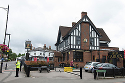 ©Licensed to London News Pictures 25/07/2020     <br /> Chislehurst, UK. Police at the Gordon Arms pub this afternoon in Chislehurst, South East London after two men got stabbed last night. Police were called to the scene at 20:52hrs on 24.07.20. This incident is linked to the hit and run murder in Chislehurst. Photo credit: Grant Falvey/LNP