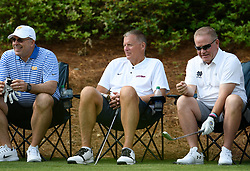 Pittsburgh head football coach Pat Narduzzi, Uconn head football coach Randy Edsall and Notre Dame head football coach Brian Kelly during the Chick-fil-A Peach Bowl Challenge Closest to the Pin Skills Competition at the Ritz Carlton Reynolds, Lake Oconee, on Monday, April 29, 2019, in Greensboro, GA. (Dale Zanine via Abell Images for Chick-fil-A Peach Bowl Challenge)