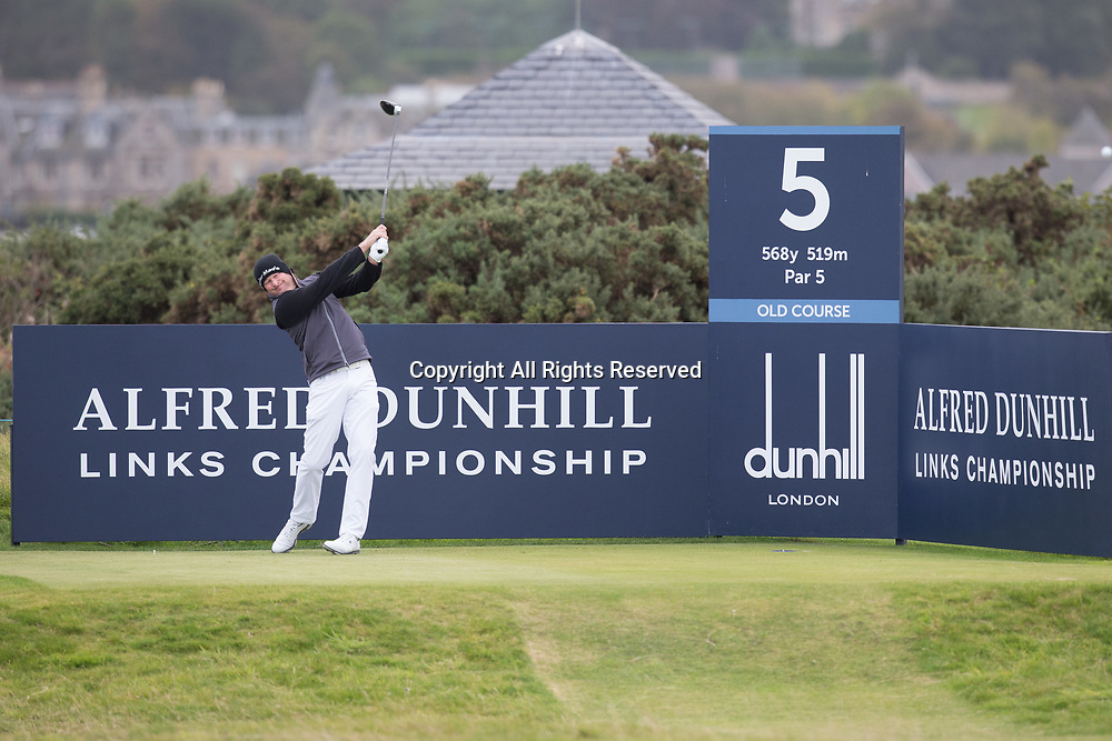 4th October 2017, The Old Course, St Andrews, Scotland; Alfred Dunhill Links Championship, practice round; Jamie Donaldson, of Wales, tees off on the fifth hole on the Old Course, St Andrews during a practice round before the Alfred Dunhill Links Championship