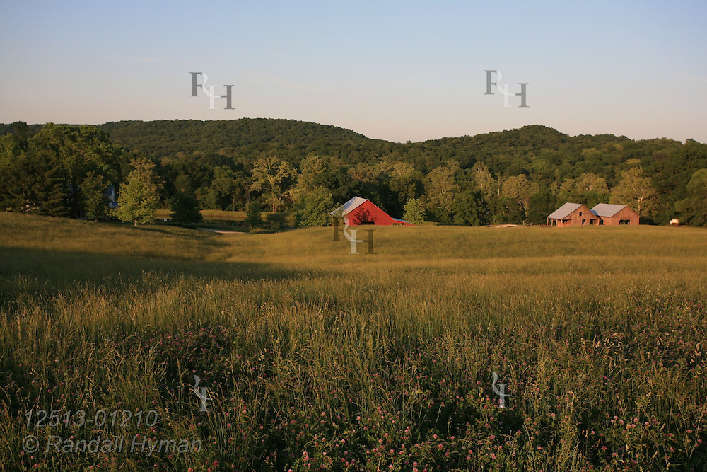 Hayfield stretches off toward barn and outbuildings at Bethlehem Valley in Warren County, Missouri.
