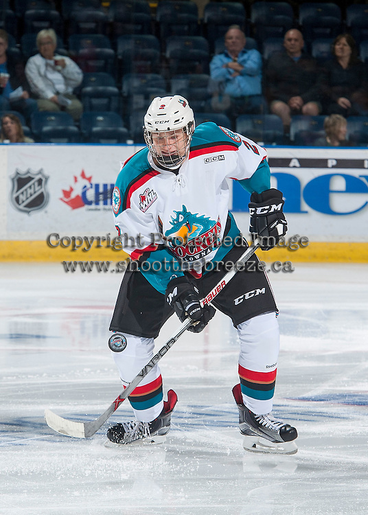 KELOWNA, CANADA - SEPTEMBER 3: Kaedan Korczac #2 of Kelowna Rockets skates with the puck against the Victoria Royals on September 3, 2016 at Prospera Place in Kelowna, British Columbia, Canada.  (Photo by Marissa Baecker/Shoot the Breeze)  *** Local Caption *** Kaedan Korczac;