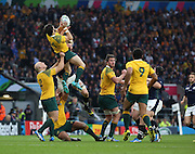 Australia's Adam Ashley-Cooper catching a high ball during the Rugby World Cup Quarter Final match between Australia and Scotland at Twickenham, Richmond, United Kingdom on 18 October 2015. Photo by Matthew Redman.