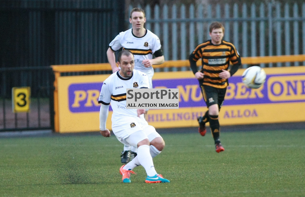Dumbartons Chris Turner launches the ball against alloa