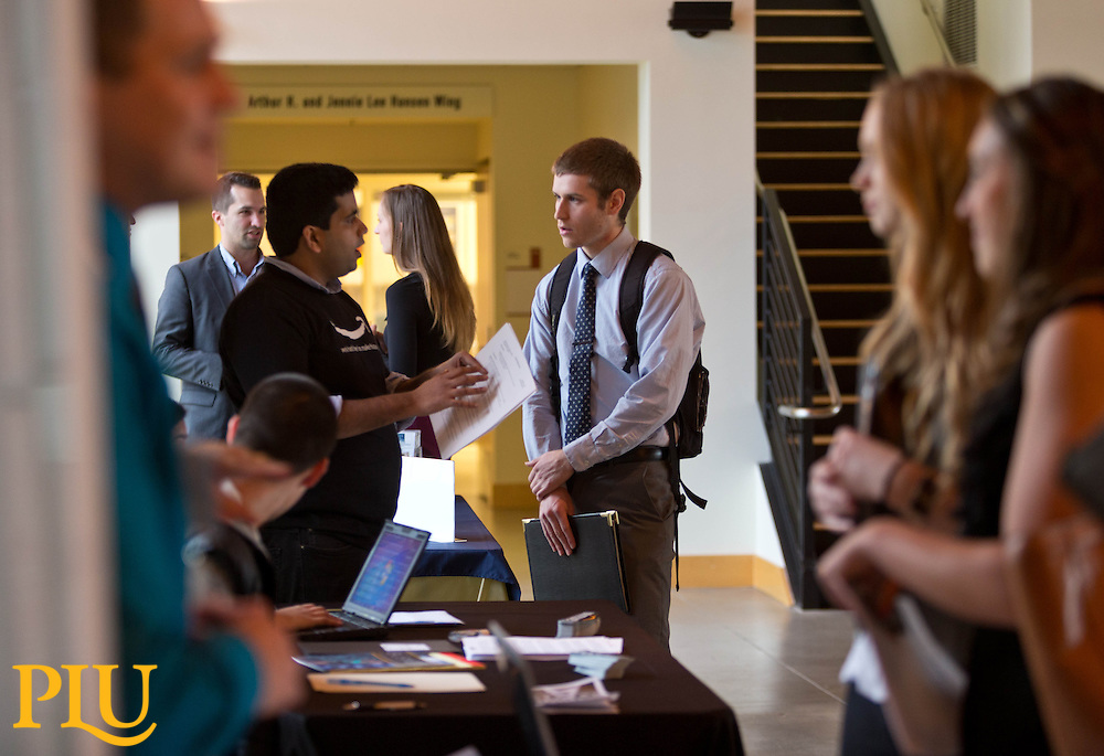 Career Connection's Business Career Fair held in Morken Center on Wednesday, Nov. 19, 2014. (Photo/John Froschauer)