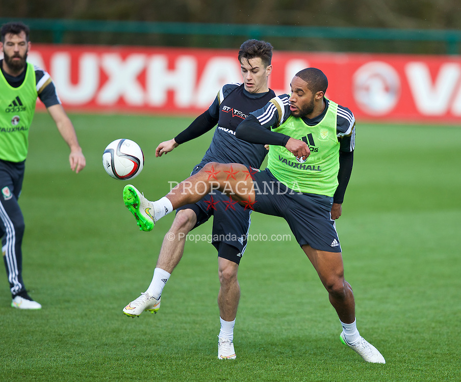 CARDIFF, WALES - Tuesday, March 24, 2015: Wales' captain Ashley Williams and Tom Lawrence during a training session at the Vale of Glamorgan ahead of the UEFA Euro 2016 qualifying Group B match against Israel. (Pic by David Rawcliffe/Propaganda)