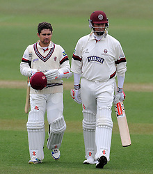 Somerset's Johann Myburgh and Somerset's Marcus Trescothick walk off during a rain delay - Photo mandatory by-line: Harry Trump/JMP - Mobile: 07966 386802 - 02/04/15 - SPORT - CRICKET - Pre Season Fixture - Day One - Somerset v Durham MCCU - Taunton Vale Cricket Ground, Somerset, England.