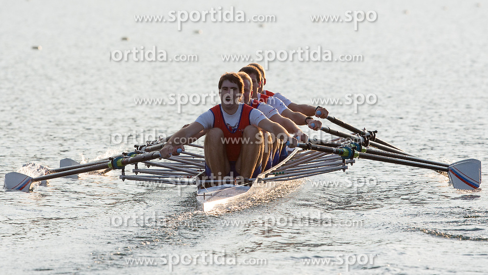 Luka Marko Bolha, Nik Dolic, Tim Mahne and Luka Kleva in category M4x (Coxed four) during rowing at Slovenian National Championship and farewell of Iztok Cop, on September 22, 2012 at Lake Bled, Ljubljana Slovenia. (Photo By Matic Klansek Velej / Sportida)