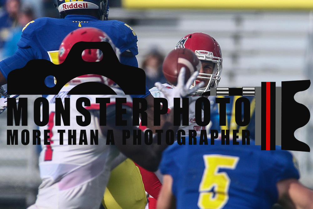 Stony Brook quarterback JOE CARBONE (10) attempts a pass over the middle of the field during a week eight game between the Delaware Blue Hens and the Stony Brook Seawolves, Saturday, Oct. 22, 2016 at Tubby Raymond Field at Delaware Stadium in Newark, DE.