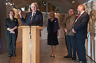 Media launch of the Great Tapestry of Scotland at the Scottish Parliament in Edinburgh with Dorie Wilkie, Andrew Crummy, Alexander McCall Smith, Alistair Moffat and presiding officer Tricia Marwick<br />