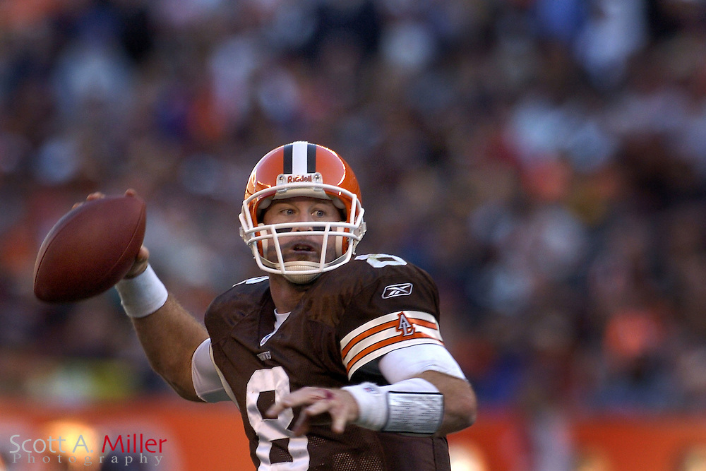 Cleveland Browns quarterback Trent Dilfer in action during the third quarter of the Browns 22-0 win over the Miami Dolphins at Cleveland Browns Stadium on Nov. 20, 2005 in Cleveland, Ohio.        ..©2005 Scott A. Miller