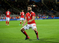 TOULOUSE, FRANCE - Monday, June 20, 2016: Wales' Joe Ledley dances as he celebrates beating Russia 3-0 and qualifying for the knock-out stage following the final Group B UEFA Euro 2016 Championship match at Stadium de Toulouse. (Pic by David Rawcliffe/Propaganda)