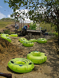 Inflatable innertubes on the bank of the White River, Ocho Rios, St. Ann, Jamaica