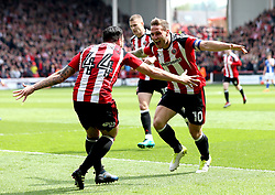 Billy Sharp of Sheffield United celebrates with Samir Carruthers of Sheffield United after scoring a goal - Mandatory by-line: Robbie Stephenson/JMP - 30/04/2017 - FOOTBALL - Bramall Lane - Sheffield, England - Sheffield United v Chesterfield - Sky Bet League One