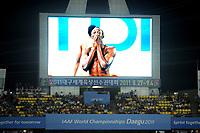 ATHLETICS - IAAF WORLD CHAMPIONSHIPS 2011 - DAEGU (KOR) - DAY 2 - 28/08/2011 - MEN 100M FINAL - USAIN BOLT (JAM) / FALSE START - PHOTO : FRANCK FAUGERE / KMSP / DPPI