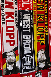 LIVERPOOL, ENGLAND - Sunday, December 12, 2015: Scarves featuring Liverpool's manager Jürgen Klopp on sale outside Anfield, as Liverpool get ready to play host to West Bromwich Albion in the Premier League. (Pic by David Rawcliffe/Propaganda)
