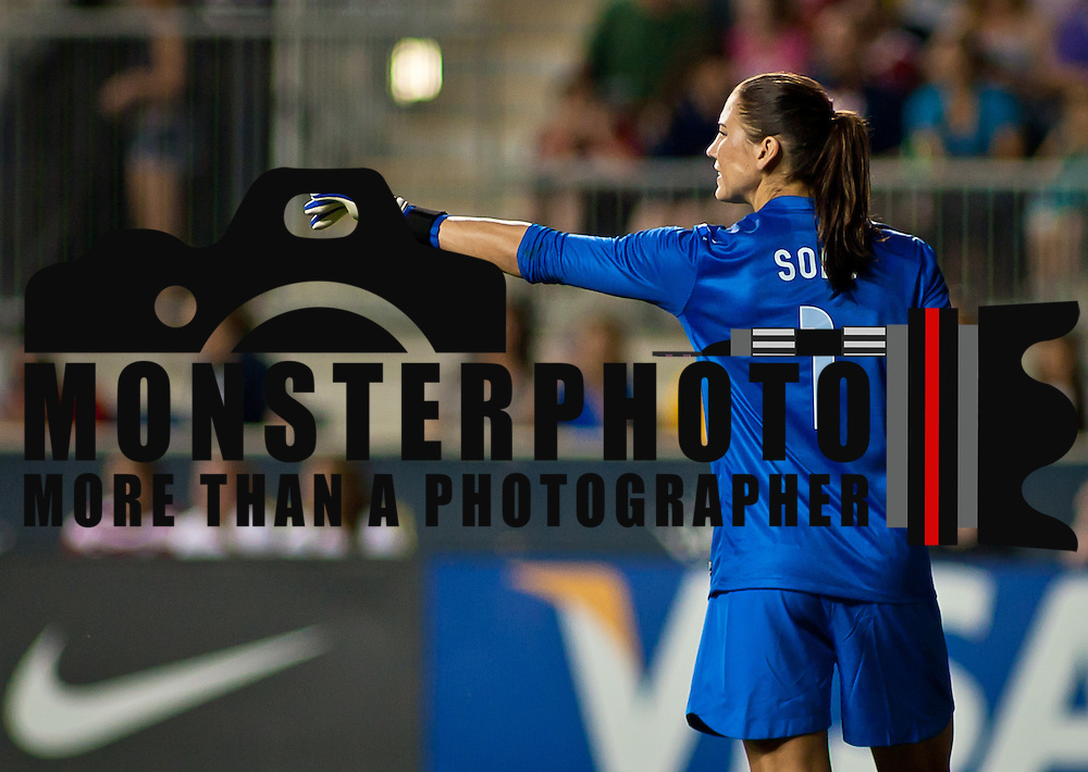 05/27/12 Chester PA: US Keeper Hope Solo #1 directs her teammates during the second half of a international friendly  game against China Sunday May. 27, 2012, at PPL Park in Chester PA. ..The United States lead 2-1 at halftime, US Attacker Alex Morgan scores 2 goal and Zhang Rui scored one goal during the 4-1 victory over China..The News Journal/SAQUAN STIMPSON.
