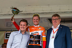 Podium with overall leader Jolien D'Hoore of Wiggle Honda after the finish at the Holland Ladies Tour, 's-Heerenberg, Gelderland, The Netherlands, 1 September 2015.<br /> Photo: Pim Nijland / PelotonPhotos.com