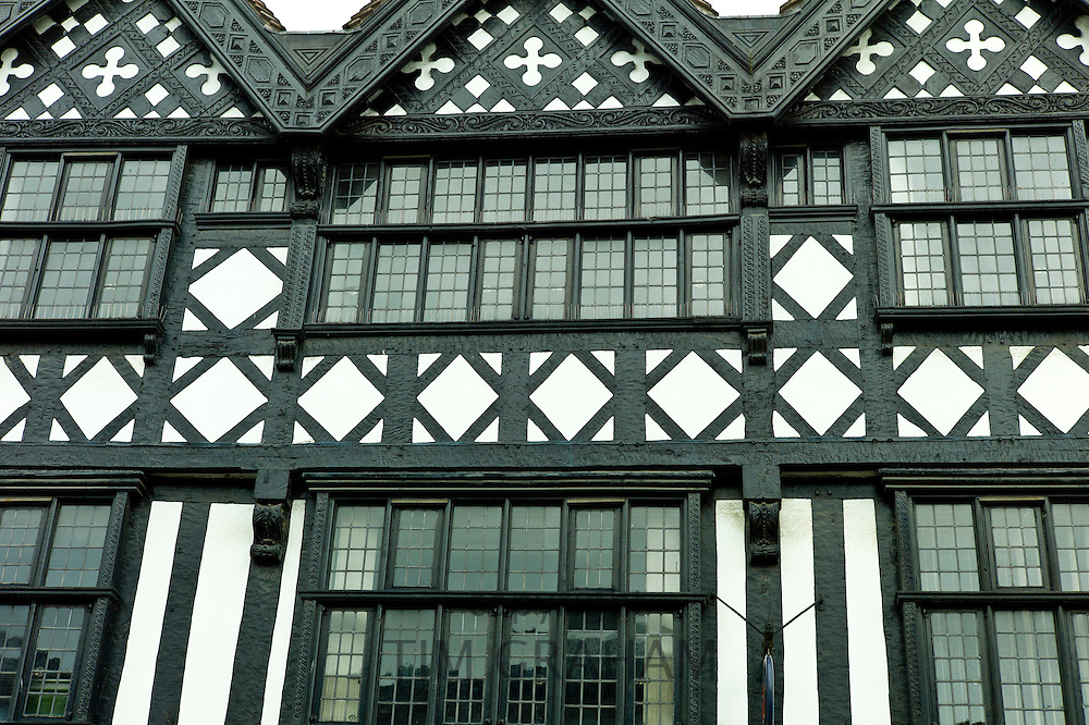 Tudor style timber-framed period house with leaded light windows in, Ludlow, Shropshire, UK