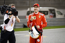April 7, 2018 - Sakhir, Bahrain - VETTEL Sebastian (ger), Scuderia Ferrari SF71H, celebrating pole position during 2018 Formula 1 FIA world championship, Bahrain Grand Prix, at Sakhir from April 5 to 8  (Credit Image: © Hoch Zwei via ZUMA Wire)