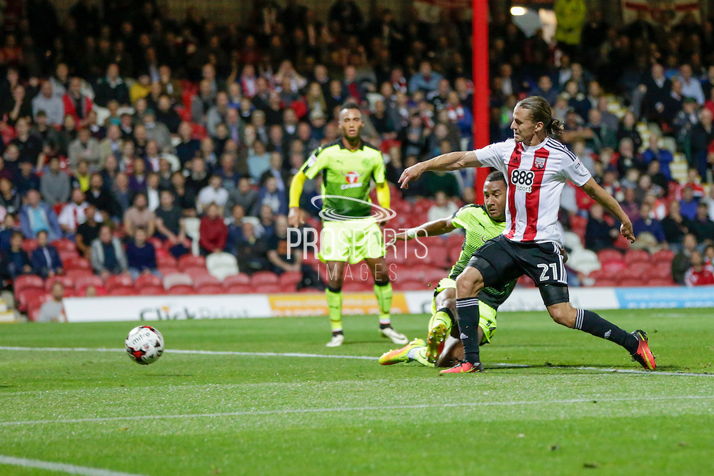 Lasses Vibe scores Brentford's second goal during the EFL Sky Bet Championship match between Brentford and Reading at Griffin Park, London, England on 27 September 2016. Photo by Jarrod Moore.