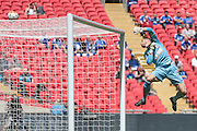 Martin Horsell (Hereford FC) tips the ball over the bar during the FA Vase match between Hereford and Morpeth Town at Wembley Stadium, London, England on 22 May 2016. Photo by Mark Doherty.