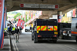 © Licensed to London News Pictures. 27/05/2017. London, UK. Heavy police presence at Wembley stadium ahead of the FA Cup final match between Arsenal FC and Chelsea FC. Security has been increased at venues across the UK, with the military called in to help police, following a terrorist attack at a music concert in Manchester on Monday evening. Photo credit: Ben Cawthra/LNP