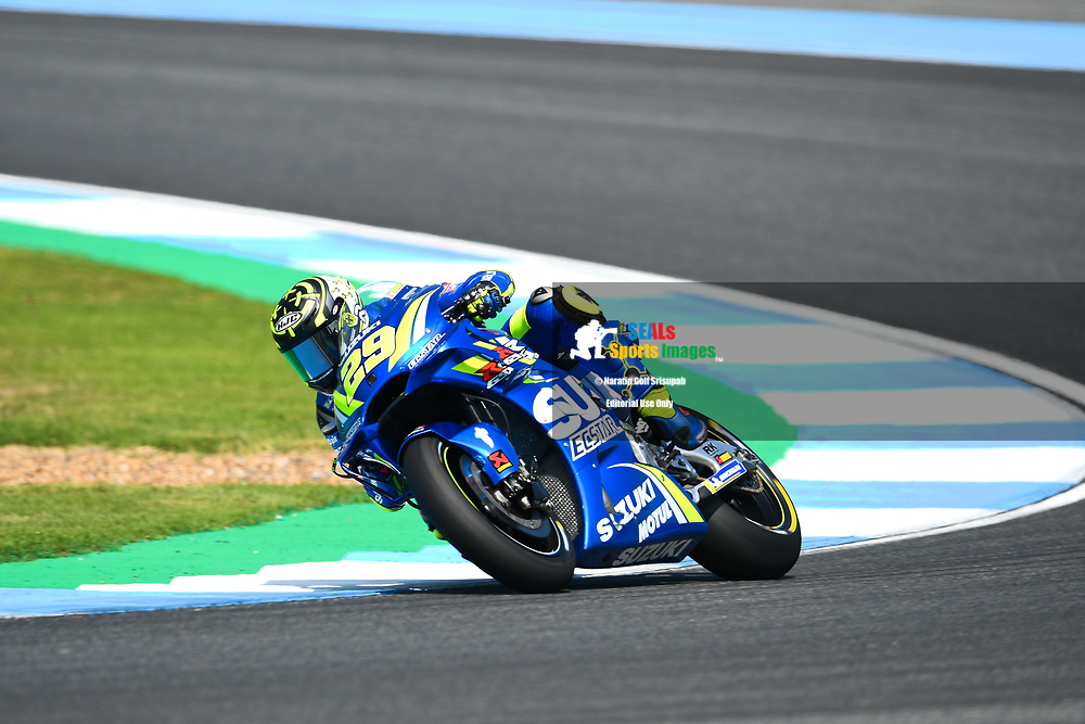 BURIRAM, THAILAND - OCTOBER 06: Andrea Iannone (29) of Italy and Team SUZUKI ECSTAR in Turn 3 during FP3 at the MotoGP PTT Thailand Grand Prix 2018, Chang International Circuit, Buriram, Thailand on October 06, 2018. <br /> .<br /> .<br /> .<br /> (Photo by: Naratip Golf Srisupab/SEALs Sports Images)<br /> .<br /> Any image use must include a mandatory credit line adjacent to the content which should read: Naratip Golf Srisupab/SEALs Sports Images