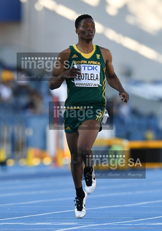 BYDGOSZCZ, POLAND - JULY 21: Gift Leotlela of South Africa in the semi final of the mens 200m during the evening session on day 3 of the IAAF World Junior Championships at Zawisza Stadium on July 21, 2016 in Bydgoszcz, Poland. (Photo by Roger Sedres/Gallo Images)