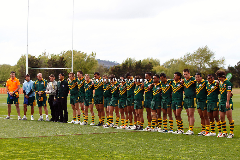 Australia during the National Anthem. NZ Resident 18s v Australia Secondary Schools, Bruce Pulman Park, Auckland, New Zealand. Saturday 8 October 2011. Photo: Ella Brockelsby/photosport.co.nz.