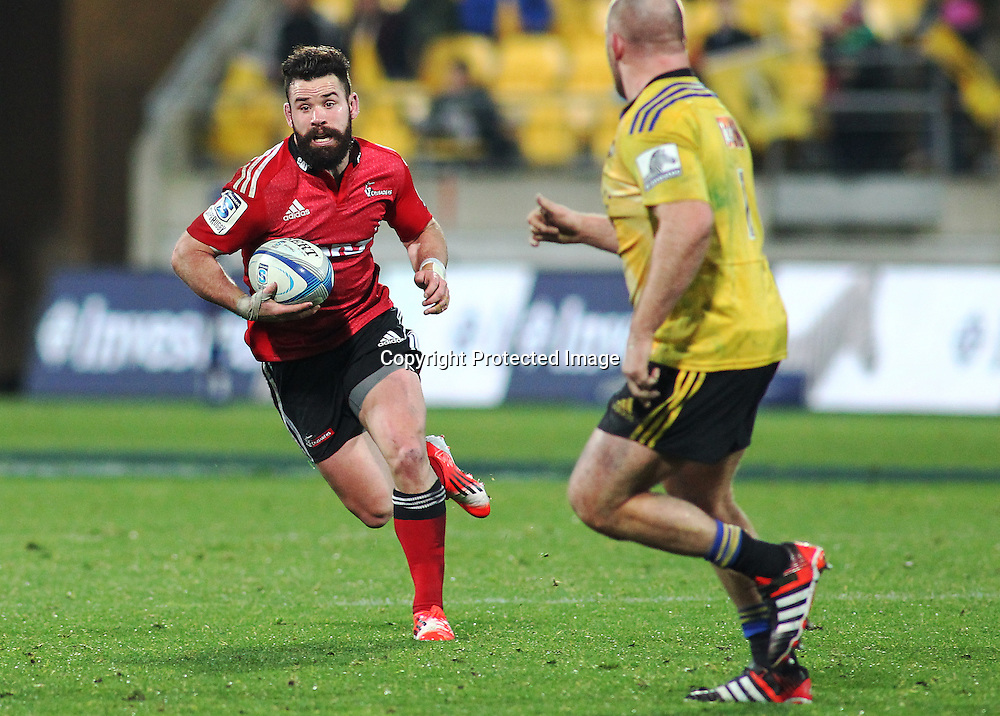 Crusaders' Ryan Crotty runs the ball during the Round 17 Super Rugby match, between the Hurricanes & Crusaders. Westpac Stadium, Wellington. 28 June 2014. Photo.: Grant Down / www.photosport.co.nz
