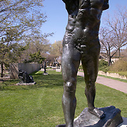 Walking Man bronze sculpture by Auguste Rodin in 1900 at the Hirshhorn Museum sculpture garden on the Mall, Washington DC USA<br />