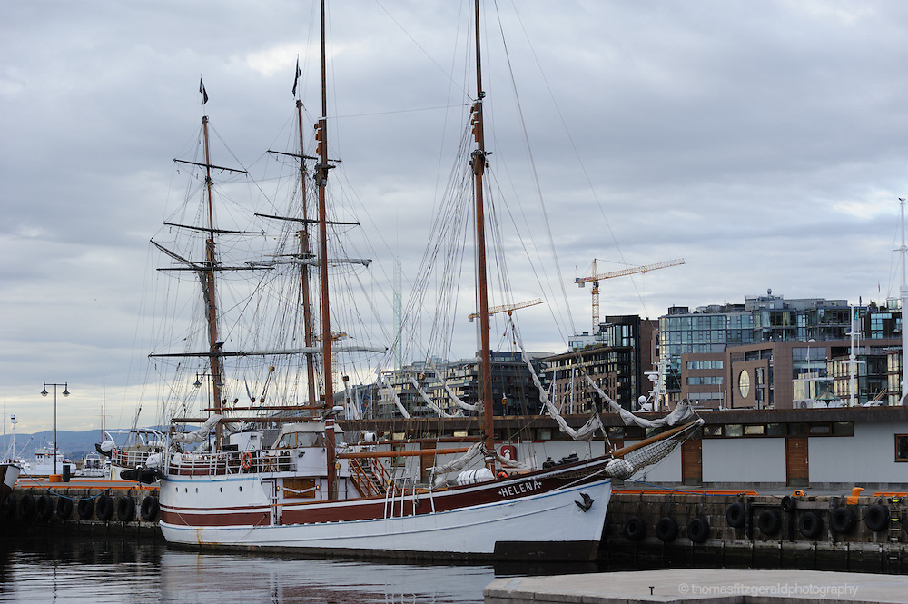 Oslo, Norway, October 2012: The sailing ship Helena docked in the oslo harbour