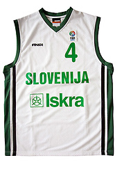 Jersey number 4 of Slovenian basketball national team when played at European Championships Sweden 2003; on March 28, 2009, in Ljubljana, Slovenia (Photo by Vid Ponikvar / Sportida)