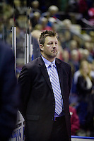 KELOWNA, CANADA, DECEMBER 27: Jon Klemm, assistant coach of the Spokane Chiefs stands on the bench at the Kelowna Rockets on December 7, 2011 at Prospera Place in Kelowna, British Columbia, Canada (Photo by Marissa Baecker/Getty Images) *** Local Caption ***