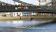 Hammersmith, GREAT BRITAIN,   Hampton  School, pass under Hammersmith Bridge in the J15 4+, during the 2008 School Head of the River Race,  04/03/2008  2008. [Mandatory Credit, Peter Spurrier/Intersport-images] Rowing Course: River Thames, Championship course, Putney to Mortlake 4.25 Miles, Hammersmith Bridge