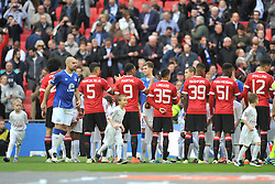 LINE UP BEFORE KICK OFF, Manchester United v Everton, The Emirates FA Cup Semi Final Wembley Stadium, Saturday 23rd April 2016, <br /> (Score 2-1), Photo:Mike Capps