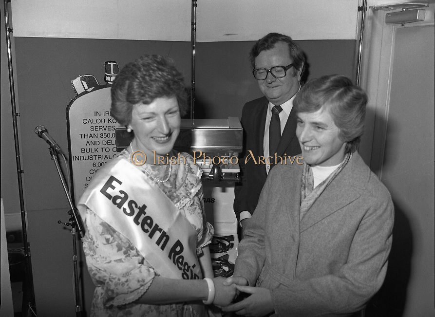 "Calor Kosangas Housewife of the Year - Dublin Regional Final.26/10/1982  26.10.1982..""Calor Kosangas Housewife Of The Year 1982"". Dublin Regional Final..The final was held in the Gresham Hotel,O'Connell St,Dublin. The winner was Mrs.,Deirdre Ryan,Derrypatrick,Drumree,Co Meath..Liz Boyhan,Home Economics advisor,Calor Kosangas presents Mrs Ryan with her prize,a new cooker,Mr Michael Higgins is also present..Mrs Deirdre Ryan winner of the Housewife of the Year regional is congratulated on her win by another contestant and by Mr Val Gunning,Director Calor Kosangas."