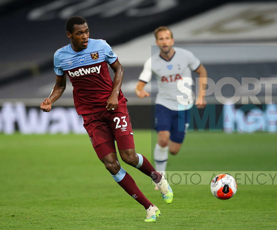 West Ham's Issa Diop during the Premier League match at the Tottenham Hotspur Stadium, London. Picture date: 23rd June 2020. Picture credit should read: David Klein/Sportimage