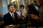 Senator ROY BLUNT (R-MO) speaks to reporters after the Senate defeated his amendment that would have allowed employers to decline to cover health benefits that conflict with their religious beliefs. The Senate voted 51-48 to table the amendment aimed at the Obama administration's contraceptive coverage mandate.