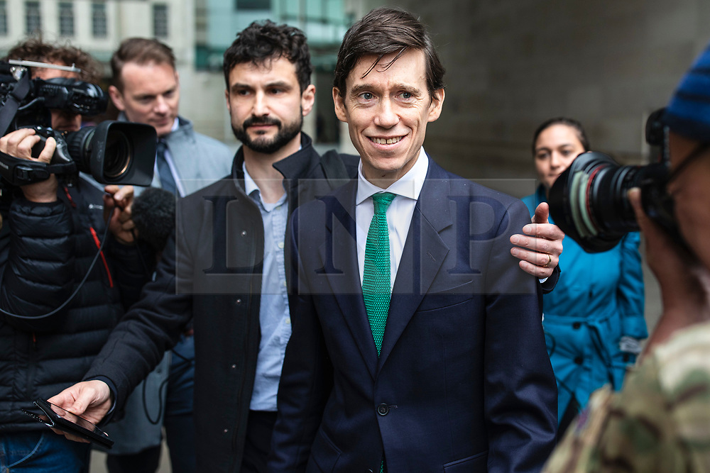 © Licensed to London News Pictures. 19/05/2019. London, UK. Secretary of State for International Development Rory Stewart (centre) leaves BBC Broadcasting House after appearing on The Andrew Marr Show. Photo credit: Rob Pinney/LNP