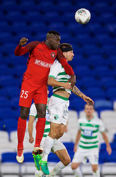 CARDIFF, WALES - Thursday, August 9, 2018: FC Midtjylland's Bubacarr Sanneh and The New Saints FC's substitute Adrian Cieślewicz during the UEFA Europa League Third Qualifying Round 1st Leg match between The New Saints FC and FC Midtjylland at Cardiff City Stadium. (Pic by David Rawcliffe/Propaganda)